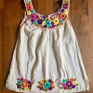 Bohemian embroidered top, handmade